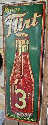 Rare Vintage Embossed Tin Sign Soda Flirt 3 Cents 30's 54 X 18 St-thomas Sign