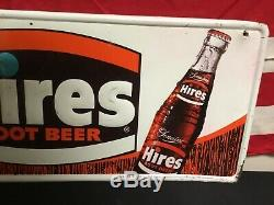 Rare. Vintage Its High Time For Hires Root Beer Embossed Tin Sign With Bottle