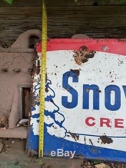 Rare Vintage Original 1950's Early 60's Snow White Tin Embossed Cream Soda Sign