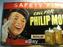 Rare Vintage Original 1950s Philip Morris Cigarette Tobacco Tin Sign
