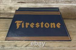Rare Vintage Original FIRESTONE TIRES DS Tin Display Stand Sign Gas & Oil NICE