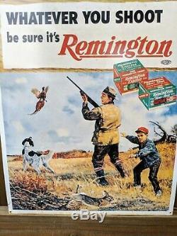 Rare Vintage Remington Tin Sign Gun Ammo Dupont Whatever You Shoot 22 by 18