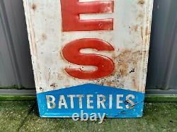 Rare Vintage Tin Embossed CO-OP TIRES BATTERIES OIL VERTICAL GAS STATION SIGN