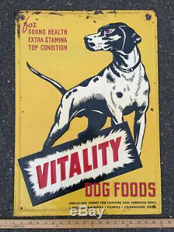 Rare Vintage Vitality Dog Foods Embossed Tin Metal Sign Advertising NICE