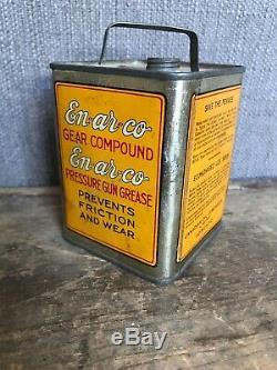 Rare Vtg 1930's EnArCo Motor Oil White Rose Gasoline Metal Bank Can Tin Canadian