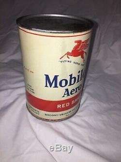 Rare Vtg 1940s Mobiloil Aero Red Band Full Qt Tin Can Socony-Vacuum pegasus XC