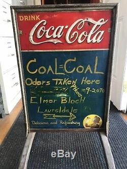 Rare Vtg 1941 Coca-Cola Embossed Menu Board Sign Tin Chalkboard Girl Silhouette