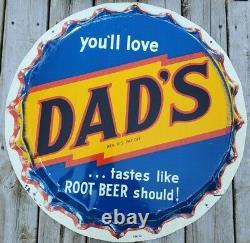 Rare Vtg 29 Dad's Root Beer Bottle Cap Embossed Tin Not Porcelain Gas Oil Sign