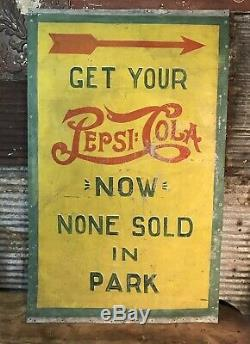 Rare Vtg 30s-40s Pepsi Cola Double Dot Hand Painted Detroit Tigers Park Tin Sign