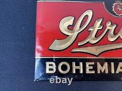 Rare Vtg STROH'S BOHEMIAN BEER SIGN Celluloid over Tin Prismatic 3-D 9 x 15