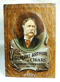 Rare c1905 General Arthur TIN CIGAR SIGN Antique vtg trompe l'oeil Tobacco Shonk