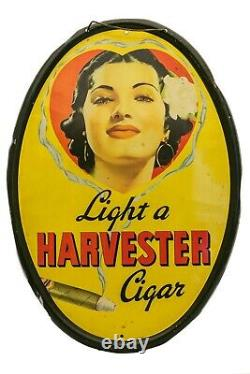 Rare vintage 1930s Harvester tin tobacco display sign in very good condition