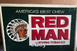 Red Man Chewing Tobacco Tin sign Vintage 60-70s Tobacco Advertisement