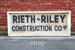 Rieth Riley Construction Co. Indiana Old Wood Frame Tin Sign vintage industrial