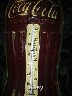 Robertson Antique Collectible Coca Cola Thermometer Vintage Tin Coke Sign Works