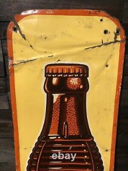 SCARCE Vintage 1930s Orange Crush Soda Tin Metal Vertical Sign Advertising