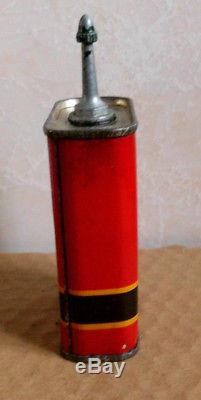 SHELL VINTAGE HOUSEHOLD OIL TIN CAN wCAP CYCLES SEWING MACHINE 4 OZS PETROL SIGN