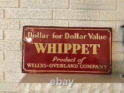 Scarce Vintage 1926 Whippet by Willys-Overland Advertising embossed Tin Sign DL