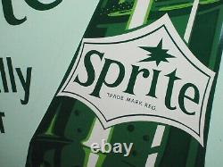Sprite Naturally Tart Embossed Tin Soda Cola Vintage 1965 Sign 27 1/4 x 31