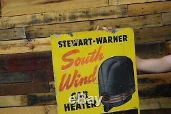 Stuart Warner AUTO HEATER TIN ADVERT. SIGN 40's VINTAGE CAR SERVICE GAS STATION