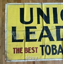 Union Leader Original Vintage Tobacco Banner Giant! Sign Rare Tin Ad Adver