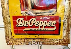 VERY RARE Vintage 1940's Dr Pepper 10-2-4 Embossed Tin sign 56 tall 18 wide