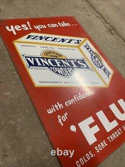 VINCENTS POWDERS Genuine Vintage Australian Tin Sign Milk Bar