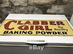 VINTAGE 1920'S CLABBER GIRL HEALTHY BAKING POWDER 2 Sided TIN SIGN (A. C. CO. 71-A)