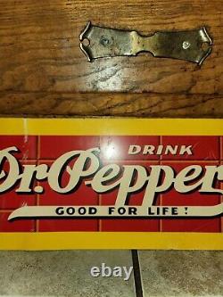 VINTAGE 1950's DRINK DR. PEPPER GOOD FOR LIFE SODA POP ADVERTISING METAL TIN SIGN
