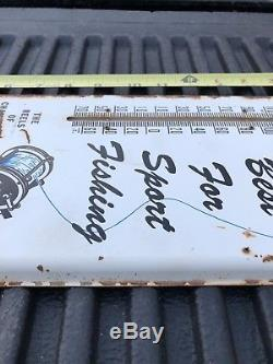 VINTAGE 50s PENN REELS TIN THERMOMETER SIGN PHIL PA OLD Ocean Sport FISHING ADV