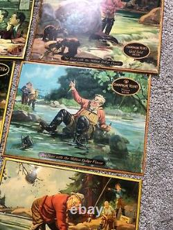 VINTAGE CHAMPAGNE VELVET FISHERMAN TIN METAL BEER SIGN 1940'S set of 10 RARE
