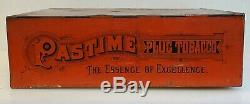 VINTAGE COLLECTIBLE 1800s PASTIME PLUG TOBACCO ADVERTISING TIN BOX SIGN HUNTING