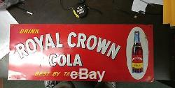 Vintage Drink Royal Crown Cola Embossed Tin Sign Measurs 29x12 Inches Very Nice