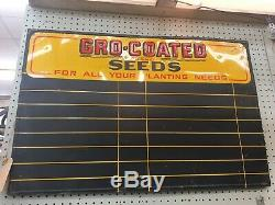 VINTAGE GRO-COATED SEEDS Embossed Tin Sign Advertising Chalkboard