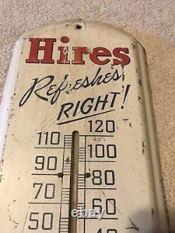 VINTAGE HIRES ROOT BEER SODA POP TIN THERMOMETER ADVERTISING Sign 1940s WORKING