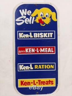 VINTAGE KEN-L-RATION/BISKIT/MEAL/DOG FOOD TIN LITHO DOOR PUSH SIGN WITH CAN-8x4