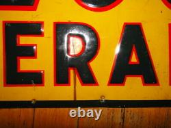 VINTAGE LEE OVERALLS DENIM YELLOW TIN SIGN Original Sz 23X11