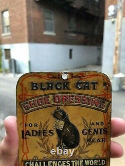 VINTAGE NM c. 1900 TIN LITHOD BLACK CAT SHOE DRESSING COUNTRY STORE BILL HOOK