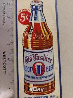 VINTAGE OLD FASHION ROOT BEER TIN LITHO DOOR PUSH SIGN WithEMBOSSED BOTTLE-9x3
