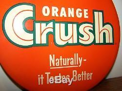 VINTAGE ORANGE CRUSH Celluloid TIn BUTTON SIGN Soda Pop Beverages TOC Drink OLD