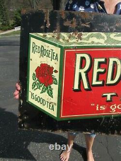 VINTAGE ORIGINAL 1894 1920 RED ROSE TEA EMBOSSED TIN TACKER SIGN 29 x 19 1/4