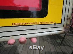 VINTAGE ORIGINAL 1930's DR PEPPER 10-2-4 EMBOSSED TIN SIGN W BOTTLE ROBERTSON
