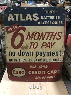 VINTAGE ORIGINAL ESSO ATLAS TIRES 6 Month Credit Card Sign Metal Advertising Tin