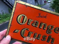 VINTAGE RARE CANADIAN c. 1930 TIN OVER CARDBOARD DRINK ORANGE CRUSH SIGN