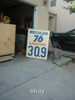 VINTAGE UNION 76 GAS STATION PRICE SIGN DOUBLE SIDE METAL TIN 60s 70s
