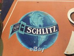 (VTG) 1920's Schlitz beer brew prohibition era tin bar sign Milwaukee wi RARE