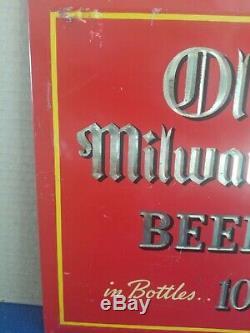 (VTG) 1930s Old Milwaukee Beer waiter toc tin over cardboard sign schlitz rare
