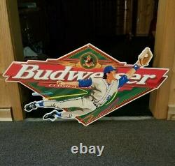 VTG 1997 Anheuser Busch Budweiser Beer Tin Advertising Baseball Promo Sign 35