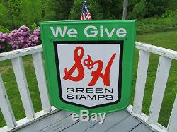 VTG 3 1/2 Feet Large Sheild Sign Embossed Tin S&H GREEN STAMPS USA STOUT M-295-P