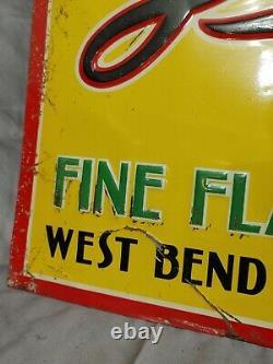 VTG Tin Embossed West Bend Lithia Beer Sign Old Original